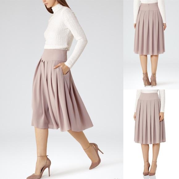 soft and light usa cheap sale huge sale REISS Eli Pleated Midi Crepe Dusty Rose Skirt NWT